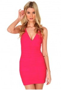 Leena neon bodycon contour dress in pink 37,79€